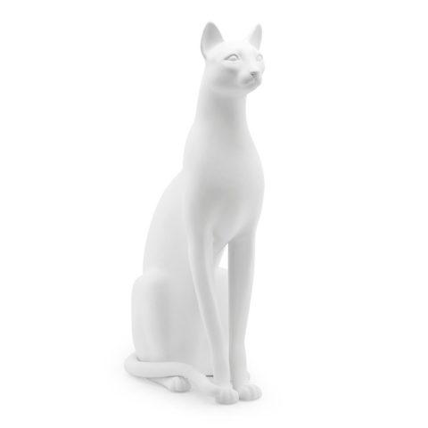 Scultura Gatto Ceramica Bianco_ArchiMode